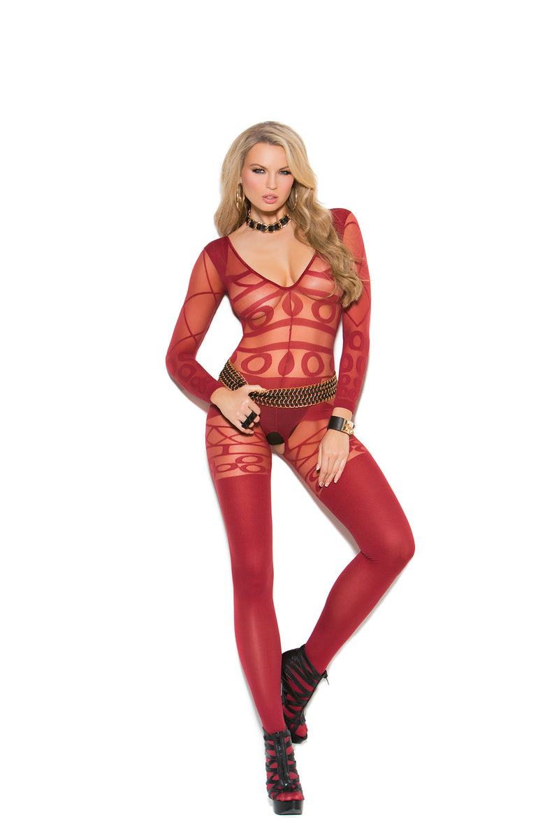 Burgundy Long Sleeve Sheer and Opaque Bodystocking with Open Crotch.