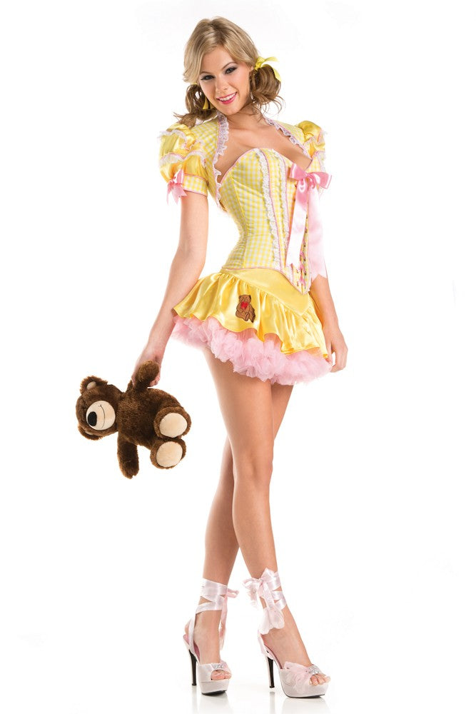 Goldielocks Yellow Halloween Costume Fairy Tale Dress Up Corset Skirt S/M 1426