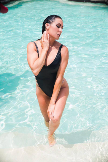 Black One Piece High Cut Strappy Swimsuit Swarovski Stones Custom