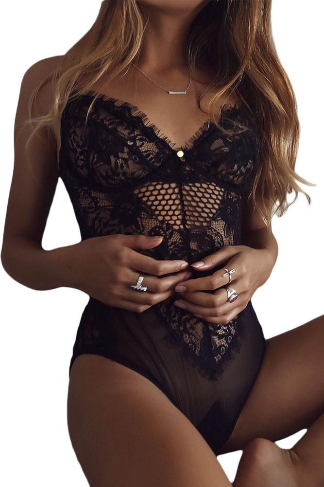 Black Lace Mesh Sheer Teddy Lingerie