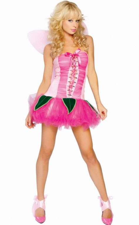 Pink Fairy Halloween Costume Wings Lace Up Front Pixie Strapless One Size 8348
