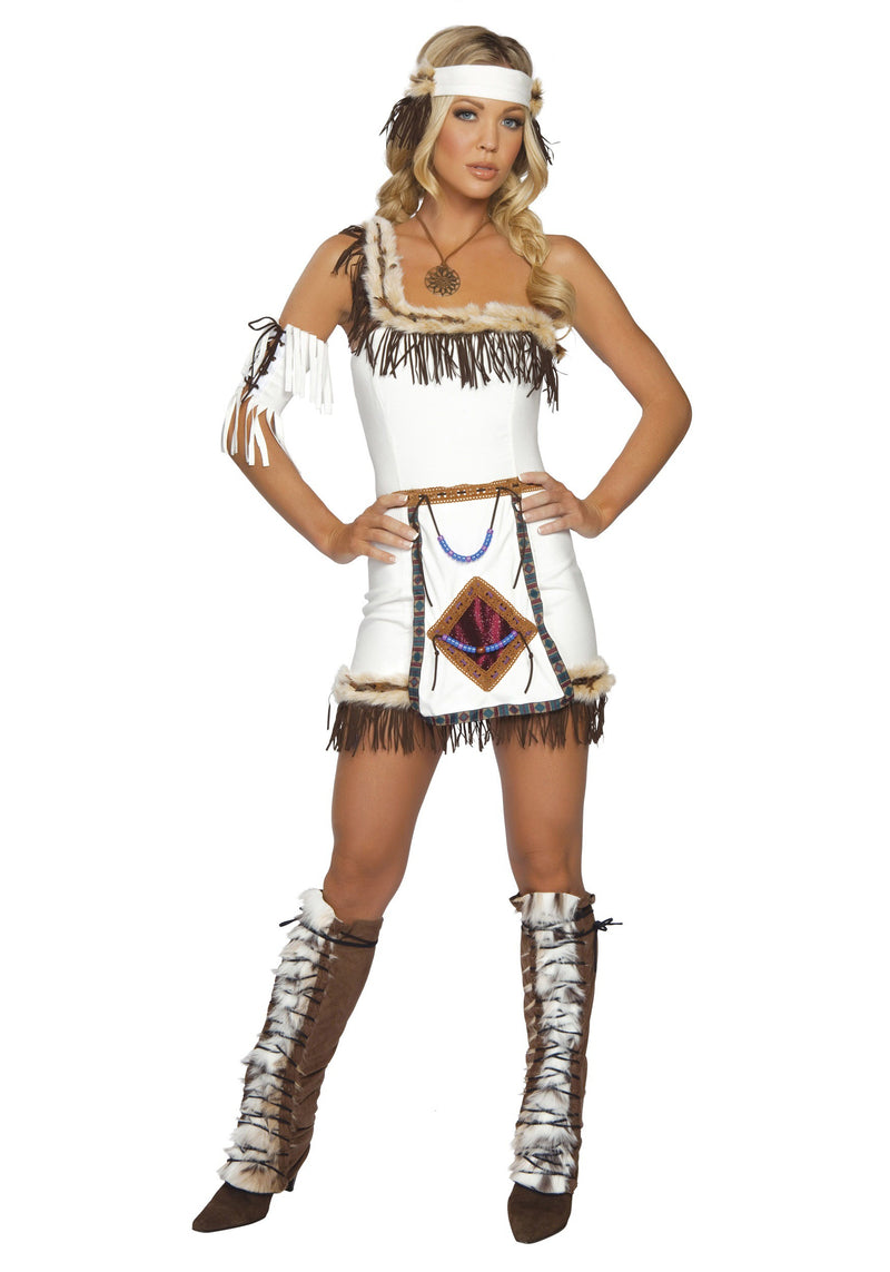 Native American Halloween Costume Indian Suede One Shoulder Fringe S/M 4206