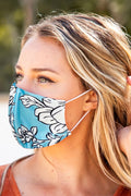 Sky Blue Floral Face Mask Anti-pollution Washable SHIPS FREE TODAY FROM USA