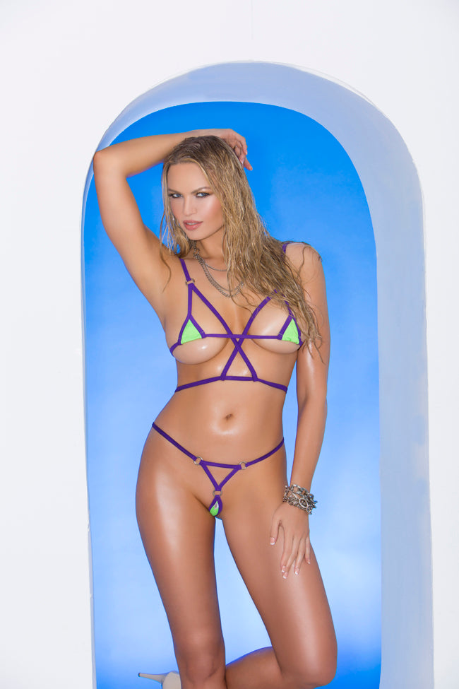 Lime Green Lycra Bikini Top and Matching G-string with Purple Trim