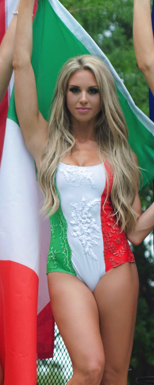 Italian Flag One-Piece Swimsuit with Handmade Matching Appliques