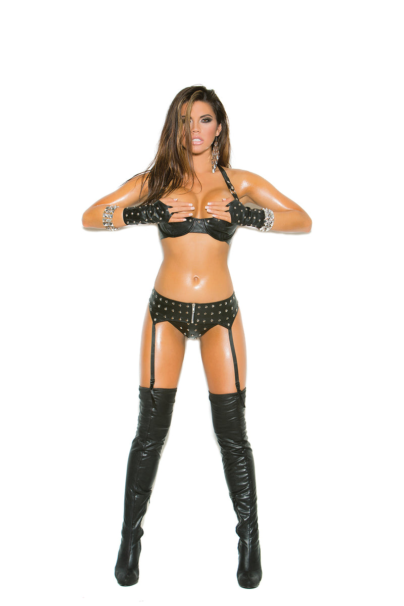 Studded leather bra with underwire cups