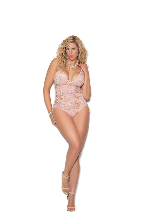 Lace Teddy with Eyelash Lace Side Detail Plus Size