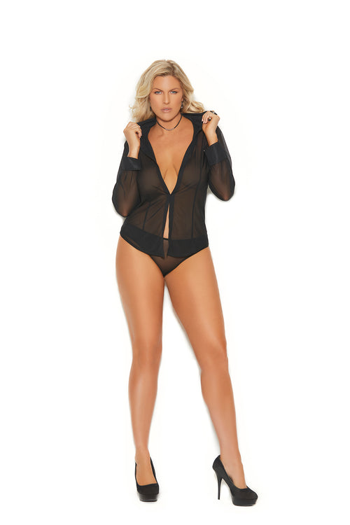 Black Long Sleeve Mesh Shirt with Matching Panty