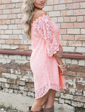 Baby Pink Off The Shoulder Boho Dress