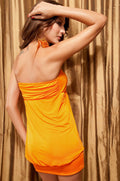 Orange Dress Mini Sweetheart Sequin Strapless Club Wear Party One Size 2580