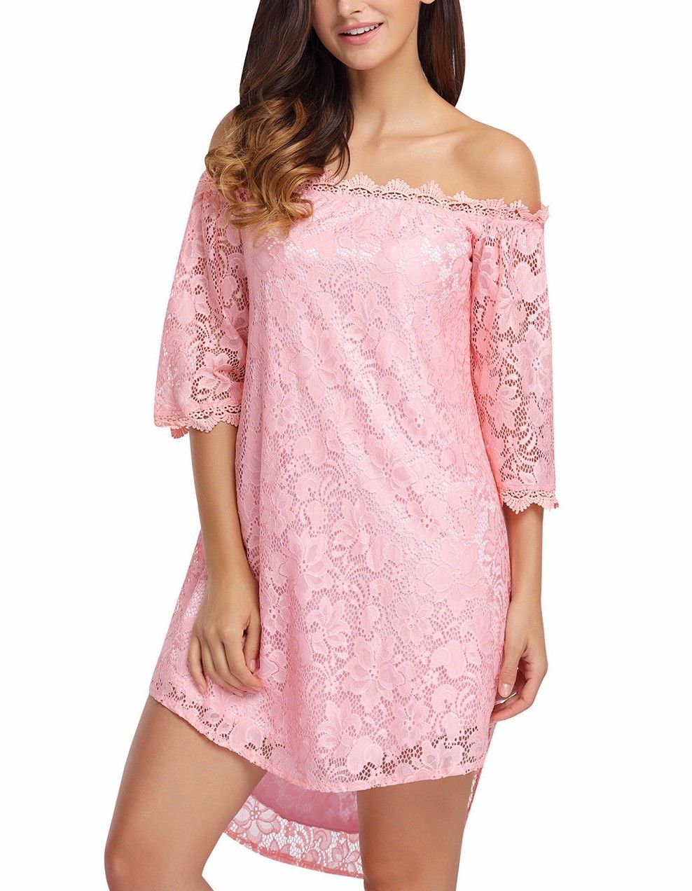 Pink Lace Off the Shoulder Long Flowy Sleeve Boho Cocktail Mini ...
