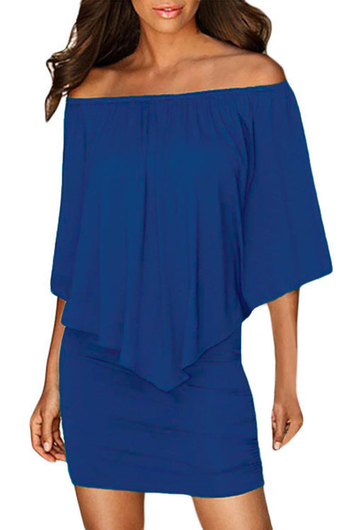 Royal Blue Mini Dress Ruffle Layered Top Oversized