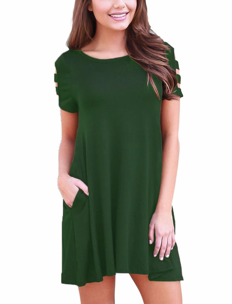 Army Green Dress Scoop Neck Stretch Tunic Strappy Short Sleeve Pocket 220023