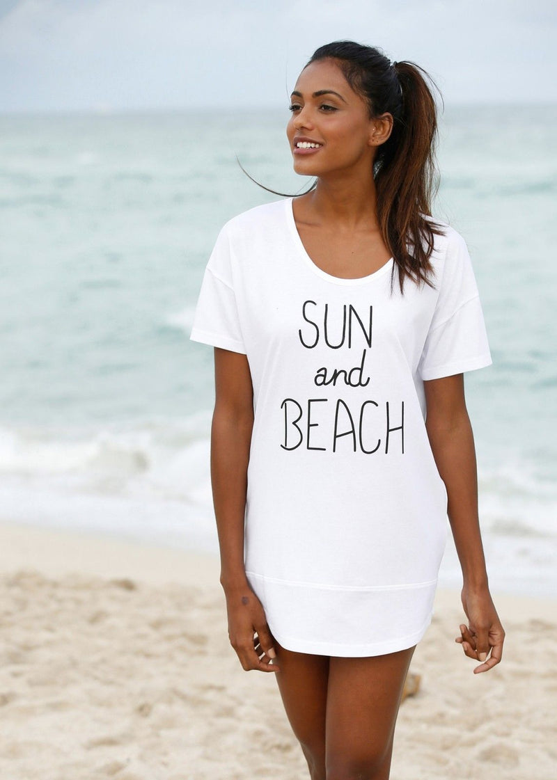 White Cover Up Sun And Beach T-shirt Beachwear Swimwear Dress One Size 4559