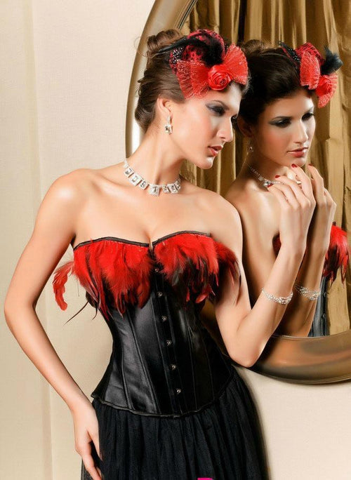 Black Corset Lingerie Bustier Red Feathers Dancewear Exotic Costume