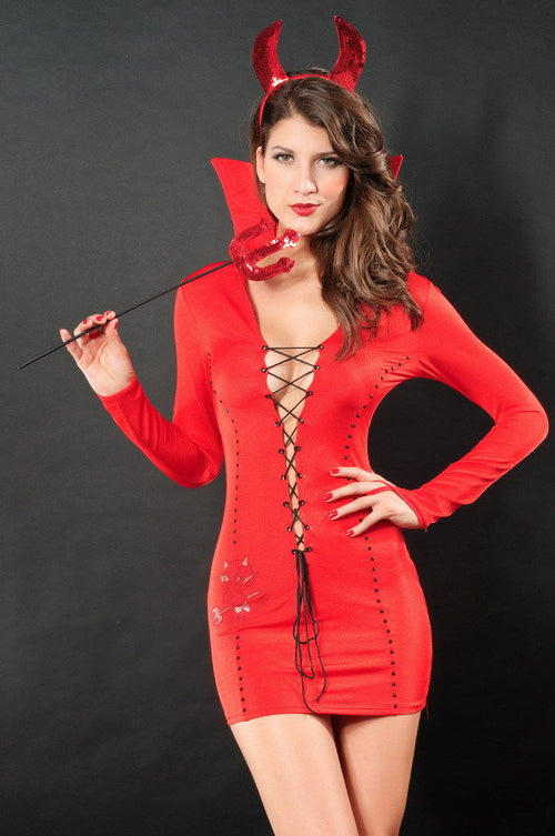Adult Devil Costume Red Dress Satan Lace Up Gothic Halloween 8578
