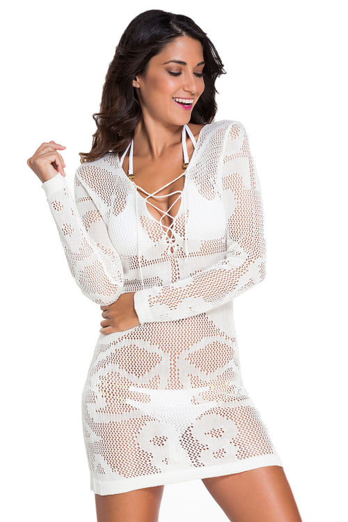 White Shift Corset Floral Long Sleeves Crochet Lace Cover Tunic Dress 41124