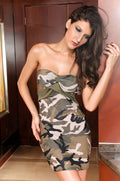 Military Army Mini Dress Camouflage Camo Strapless Club Wear Party 2426