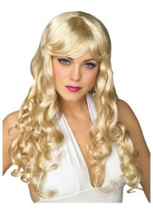 Long Curly Blonde Party Wig Sexy Costume Dress Up Halloween 0107