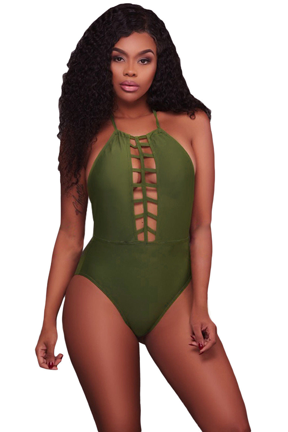 d9926436b7bd2 Army Green Caged Front Halter One Piece Swimsuit – Too Posh Boutique