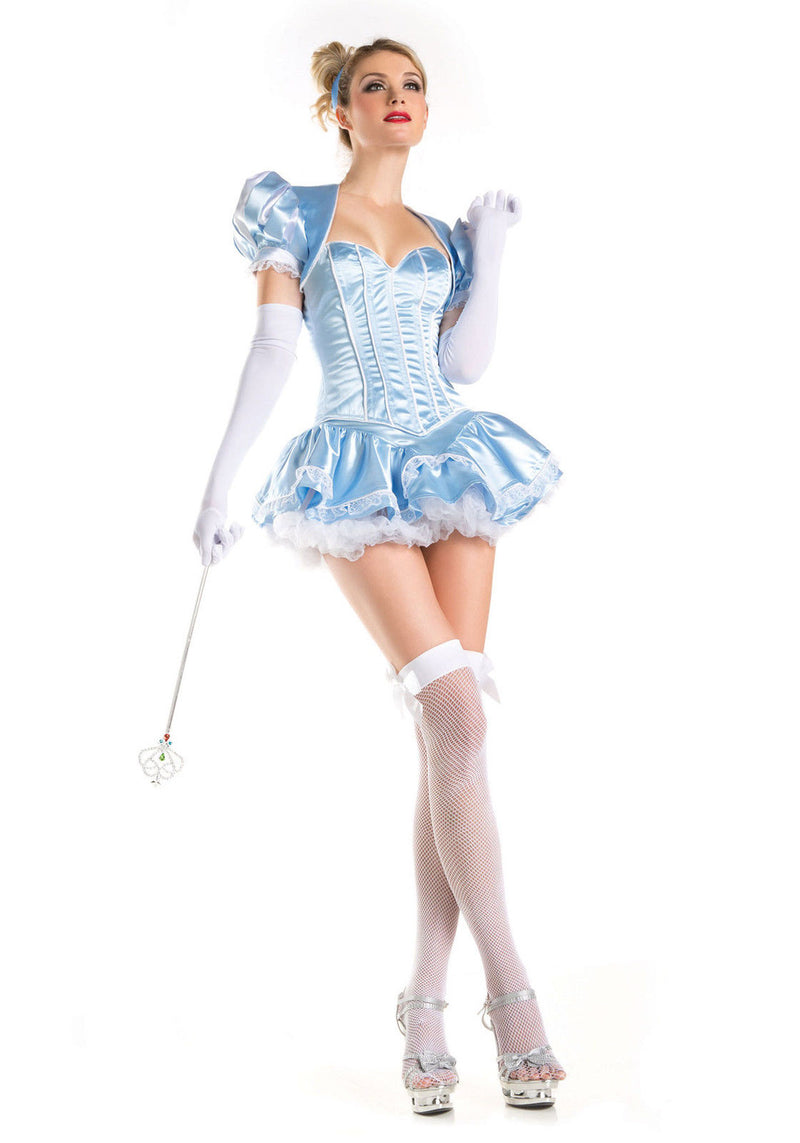 Cinderella Halloween Costume 4 Piece Set Corset Skirt White Trim Small 1425