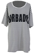 Black White Striped Cover Up Swim Barbados Oversize Beach Shirt