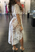 White Sheer Floral Lace Cover up Dress Tunic Short Sleeve