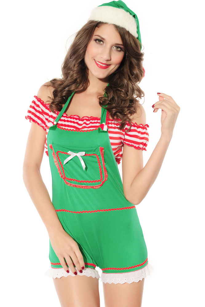 Green 3 Piece Romper Elf Christmas Costume Santa Helper Holiday One Size 7211