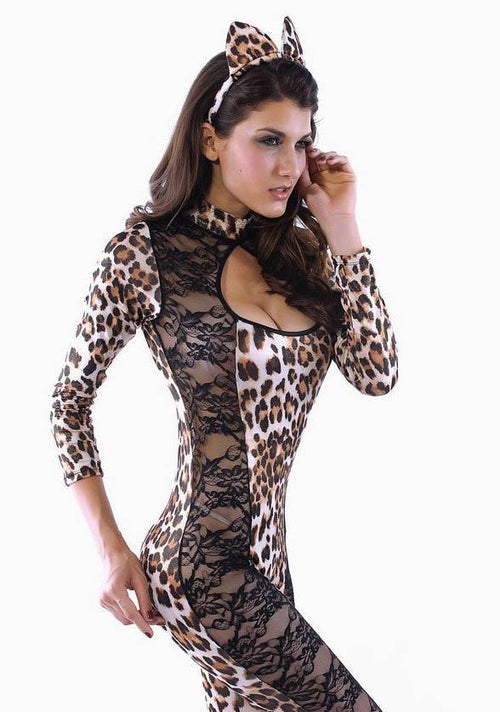Cheetah Halloween Costume Feline One Piece Catsuit Lace Cut Outs One Size 8552