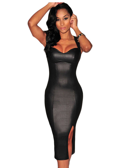Black Midi Dress Faux Leather Clubwear Party Padded Key Hole Back 6818