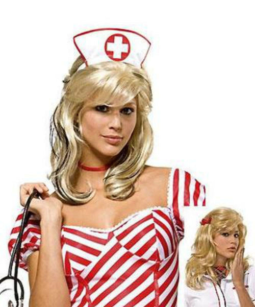 Medium Blonde Party Wig Sexy Costume Dress Up Halloween 0155
