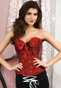 Red Corset Lingerie Bustier Brocade Rocker Boning Lace Up