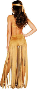 Indian Pocahontas Halloween Costume 3 Piece Fringe Blue Accent Native American Medium 4480
