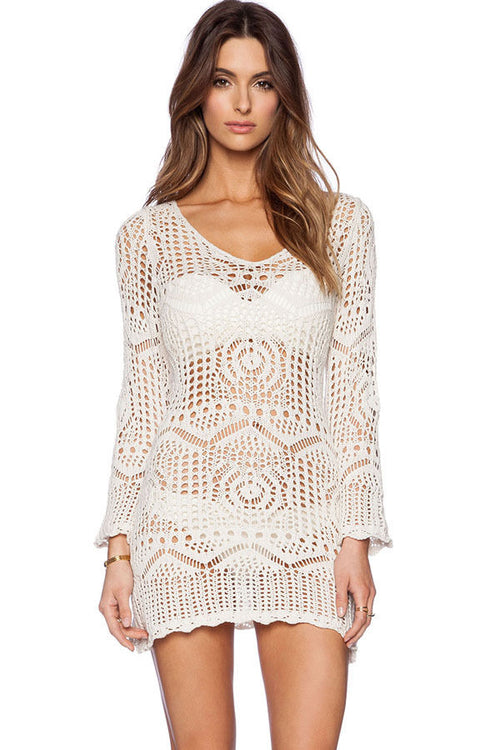 Ivory Crochet Lace Cover Up Floral Long Boho Sleeves Tunic Dress One Size 41125