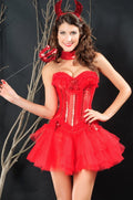 Red Corset Bustier Lingerie Devil Costume Halloween Dress Up 5250