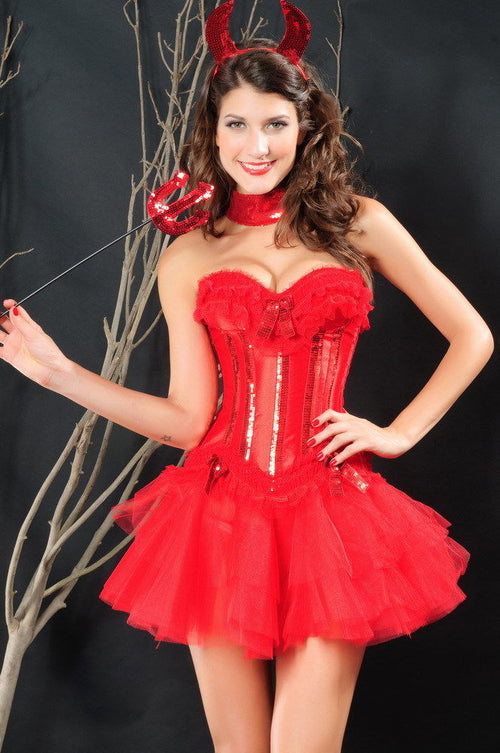 Red Corset Bustier Lingerie Devil Costume Halloween Dress Up