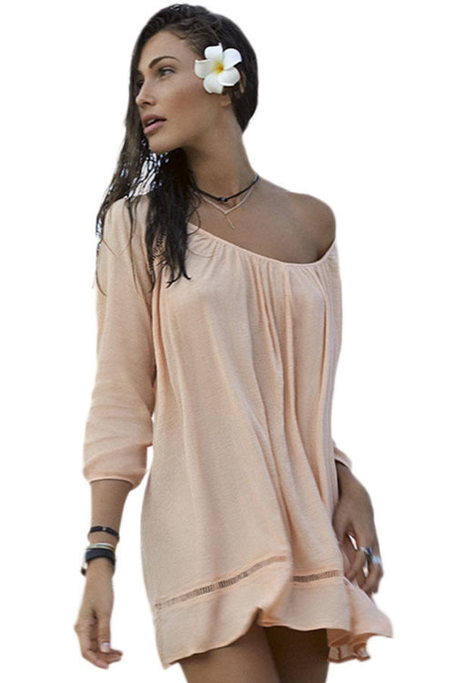 Tan Swimwear Cover Up Lightweight Crochet Long Sleeve Sccop Neck Dress