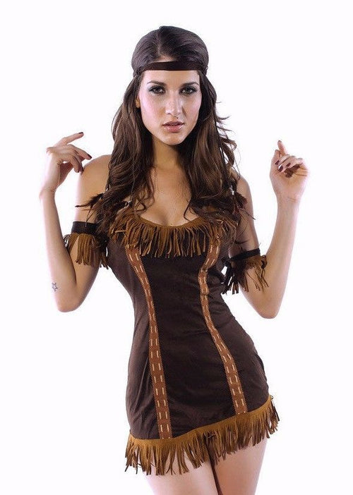 Native Indian Princess Brown Halloween Costume Pocahontas Holiday One Size 8378