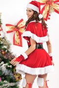 Red Velvet Mrs Santa Claus Faux Fur Dress Christmas Holiday Lingerie 7152