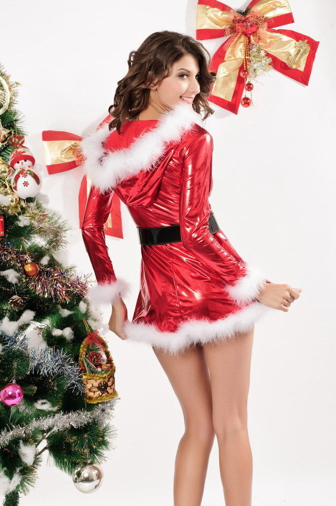 c2aaf08c639 ... Red Santa Mrs Claus Mini Dress White Faux Fur Christmas Costume One Size  7205