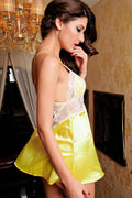 Bright Yellow Satin White Lace Criss Cross Back Pink Bow Babydoll Lingerie