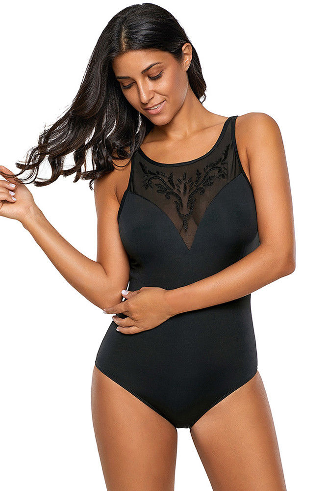 Black One Piece Swimsuit Bikini Embroidered Detail Mesh