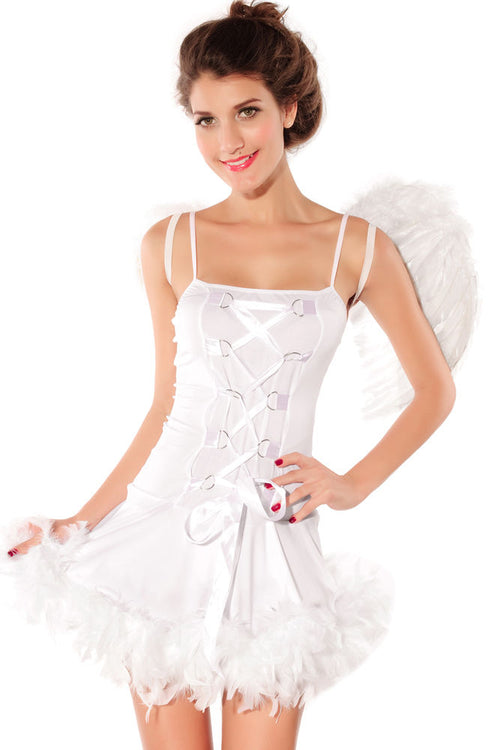 White Fairy Angel Silver Costume Skirt Corset Dress Faux Fur Halloween 8186