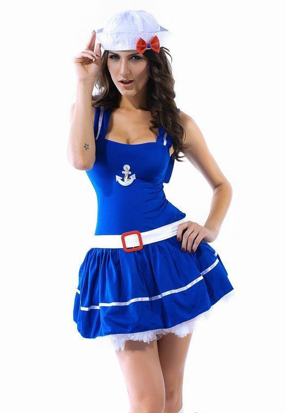 Popeye Sailor Navy Red Blue Pin Up Halloween Costume Cosplay Tutu One Size 8405