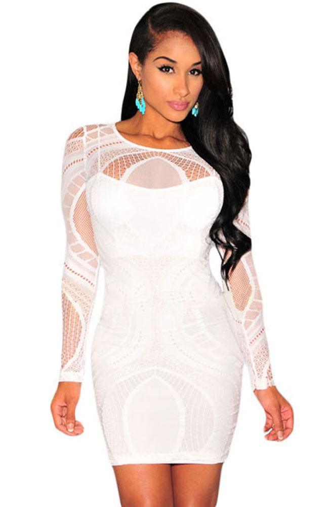 White Lace Nude Illusion Bodycon Long Sleeves Dress Formal Bridal One Size 22136