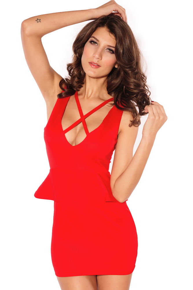 Red Strappy Peplum Cocktail Dress