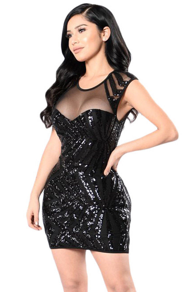 Black Sequin Dress Night Club Cut Out Sleeveless Sheer Mesh Large 22959