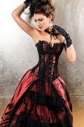 Can Can Burlesque Red and Black Corset Bustier Lingerie 5180