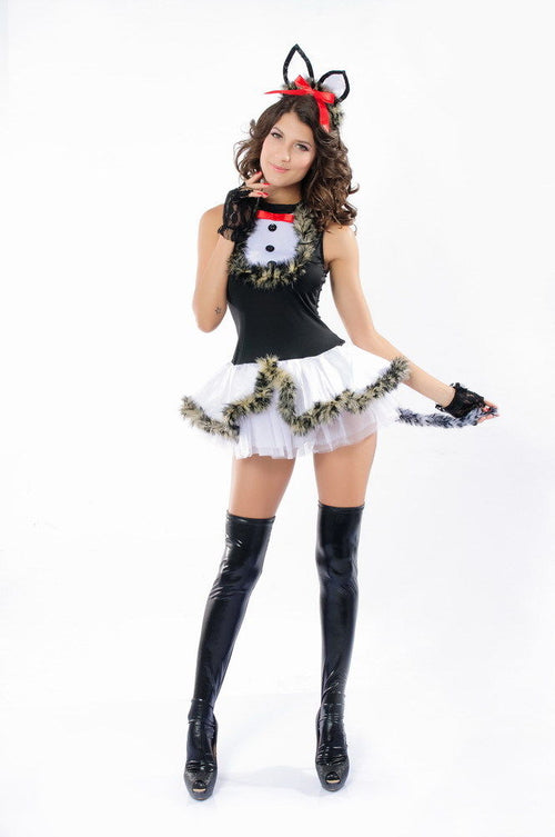 Cat Leotard Halloween Costume Dress Fur Buttons Tulle White Skirt One Size 8595