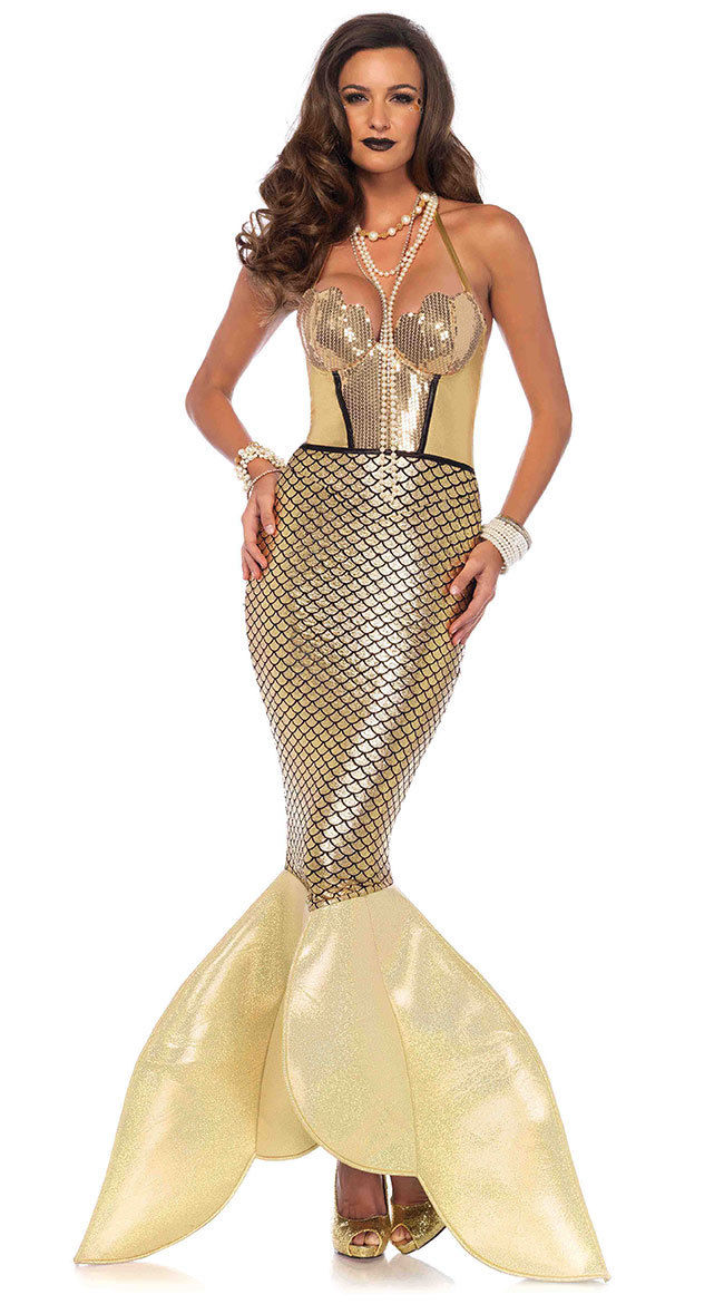 Golden Glimmer Mermaid Halloween Costume